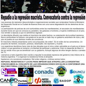 REPUDIAMOS junto a otras organizaciones la REPRESIÓN SOCIAL instaurada por el gobierno actual (30-06-2017)